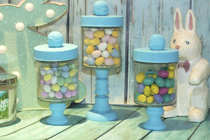 blue apothecary jars diy