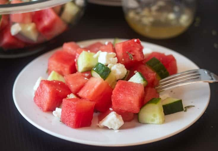 plated cucumber watermelon salad