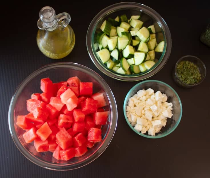 ingredients for cucumber watermelon salad