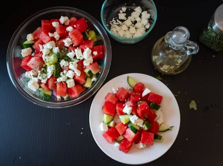 making a summer salad