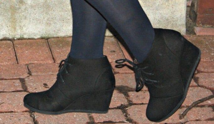 black wedge bootie