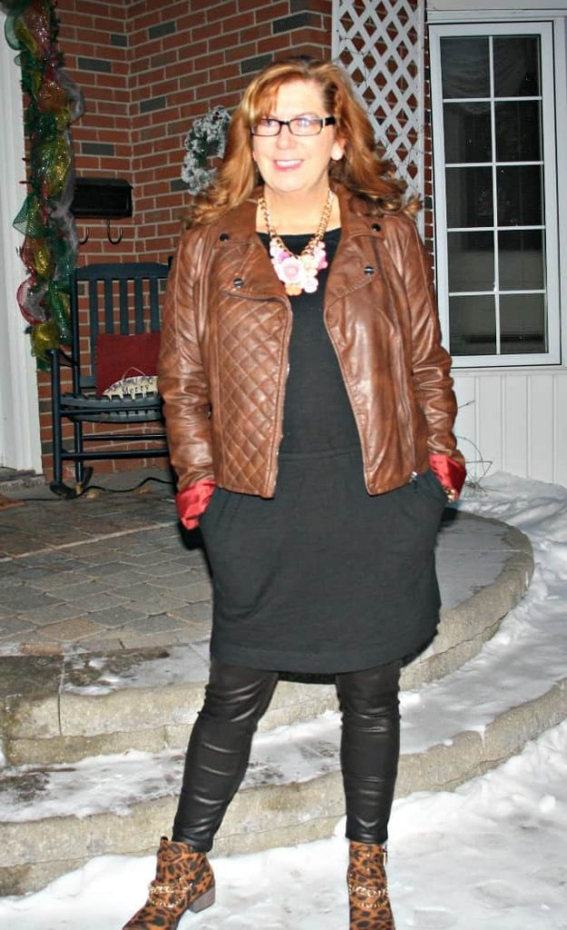 leather leggings and leopard boots from shoe dazzle
