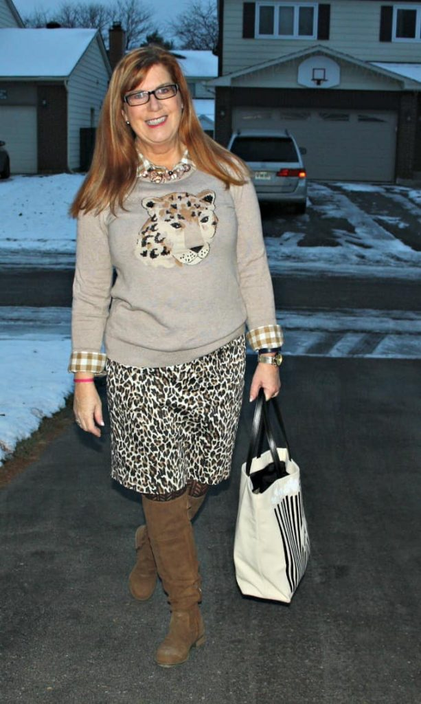 Catwoman for work leopard skirt and animal sweater