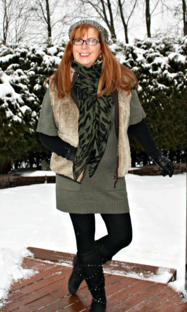 fur vest and green tunic from Banana Republic