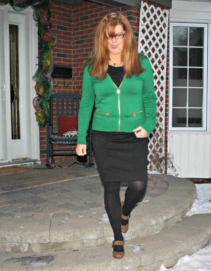 LBD with a Green Michael Kors Cardigan