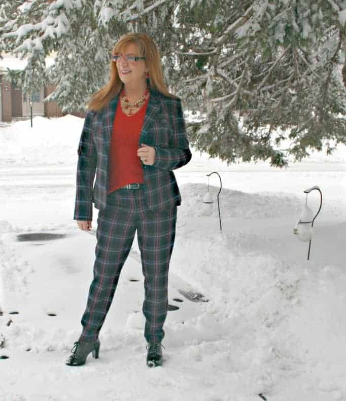 Plaid suit in the snow