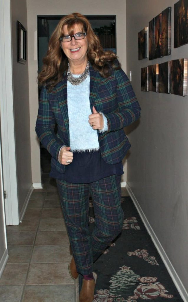 plaid suit and forever 21 booties