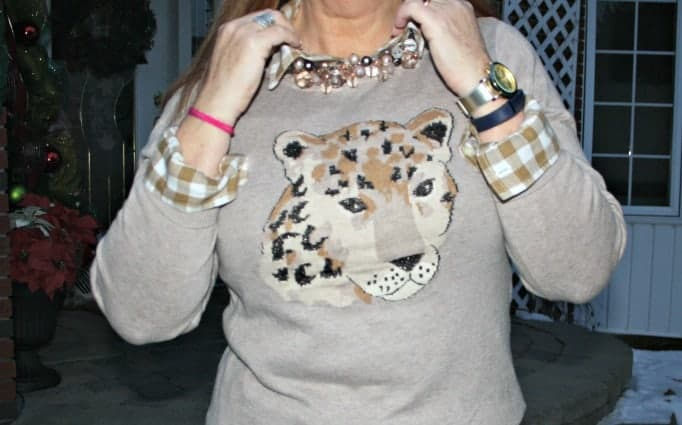 Old navy flannel and leopard sweater