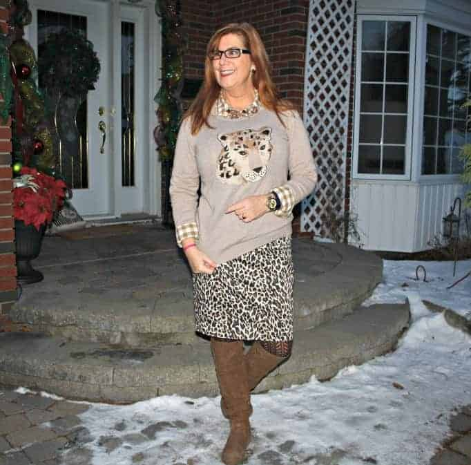 cat woman in old navy leopard sweater and j crew leopard skirt
