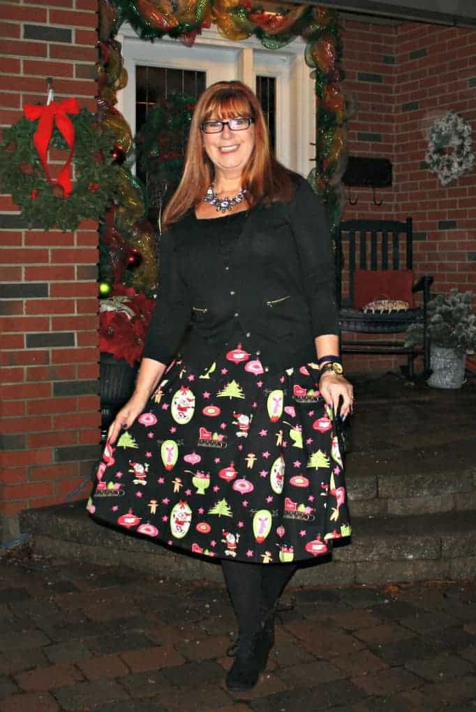 black cardigan from banana republic and christmas skirt