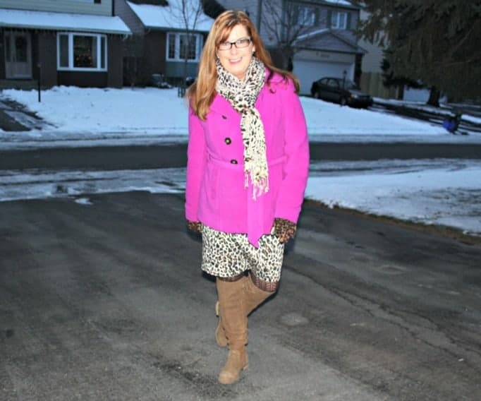 leopard and pink coat