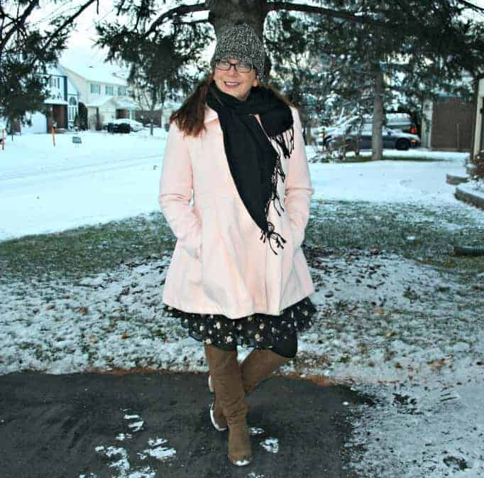 Boots shoe dazzle and pink coat from Target