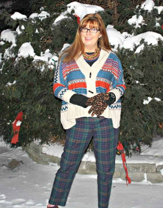 plaid, aztec and leopard for pattern mixing