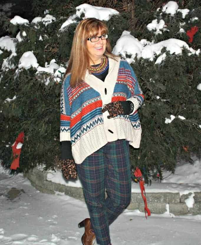plaid pants with leopard gloves and aztec sweater