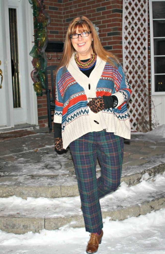 target plaid pants, lookbook sweater statement necklace