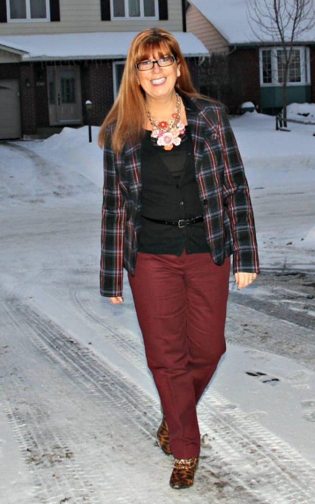 Target plaid blazer, Vanhesen Pants and Marks Sweater