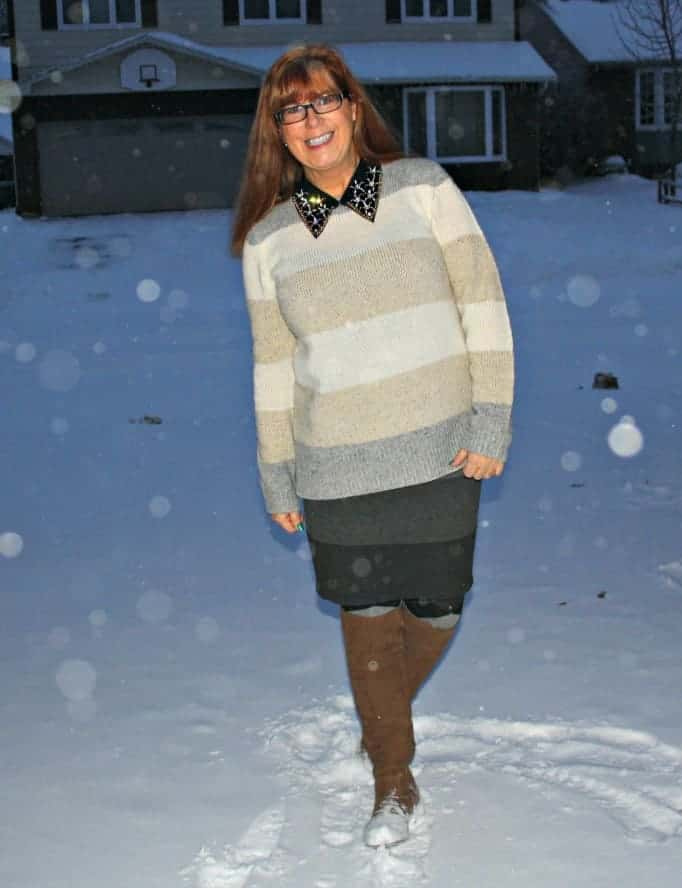 banana republic cream sweater grey skirt
