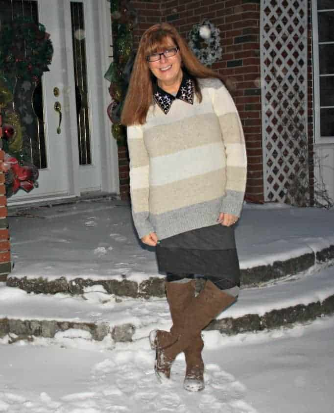 knit skirt and cream sweater