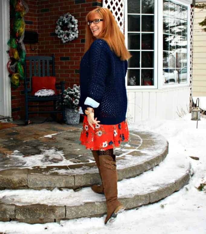 hudson bay tee, chambray and floral skirt Old Navy shoe dazzle boots