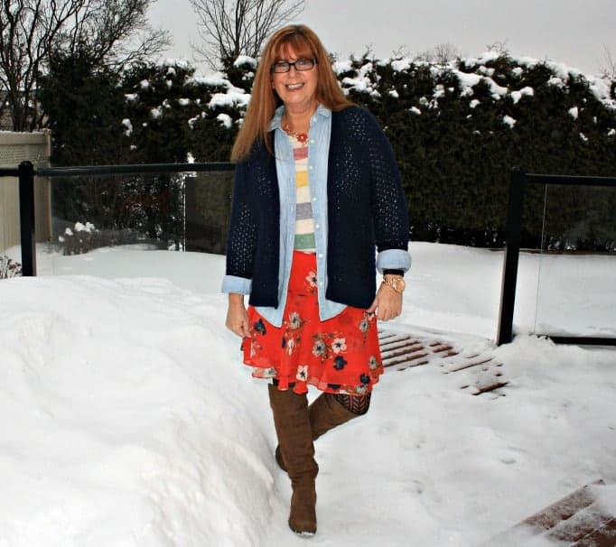 hudson bay tee, chambray and floral skirt Old Navy