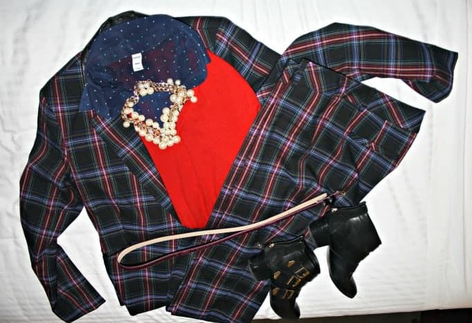 forever 21 boots and necklace, Target plaid suit