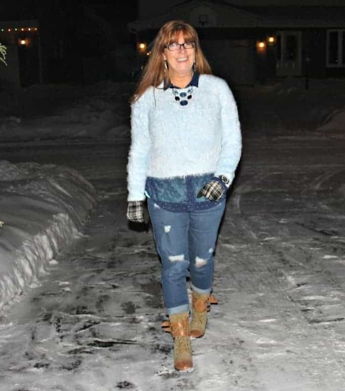 forever 21 sweater b/f jeans and statement necklace