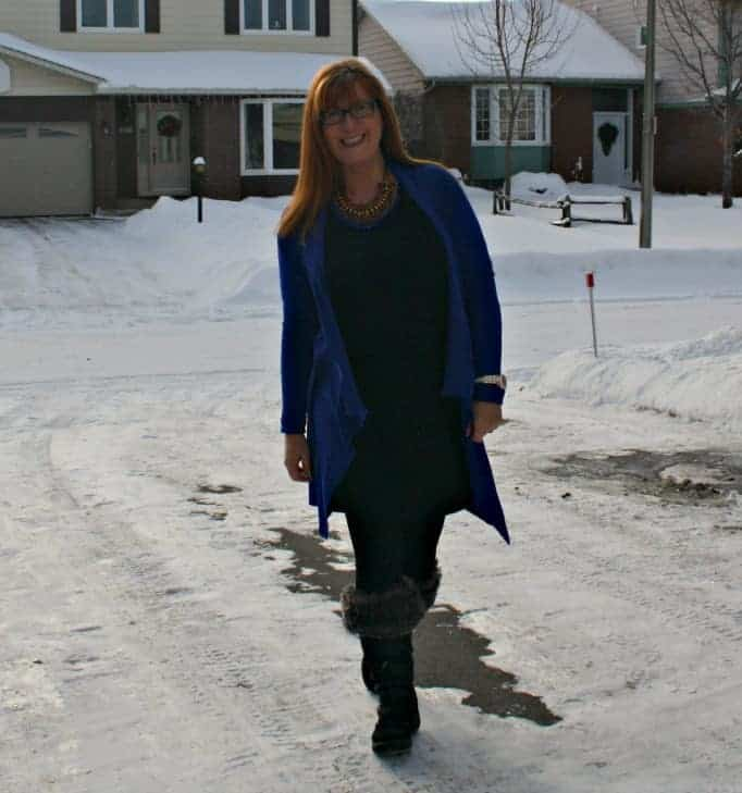 lookbook necklace and royal blue cardigan from Giant Tiger