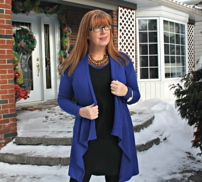 lookbook necklace and royal blue cardigan