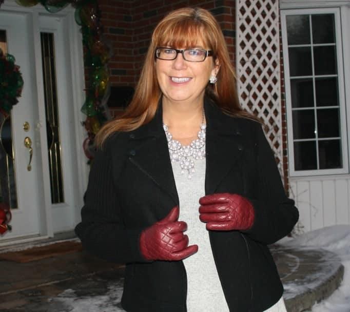 Banana Republic Moto Jacket and coach gloves