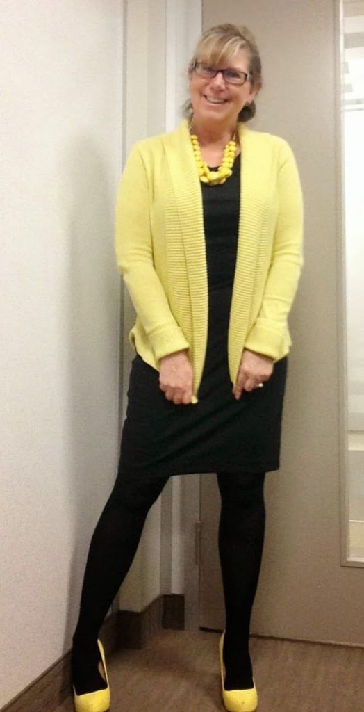 lbd and yellow accessories, shoe dazzle signature pumps