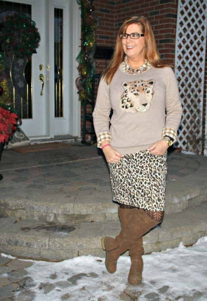 cat sweater and leopard skirt