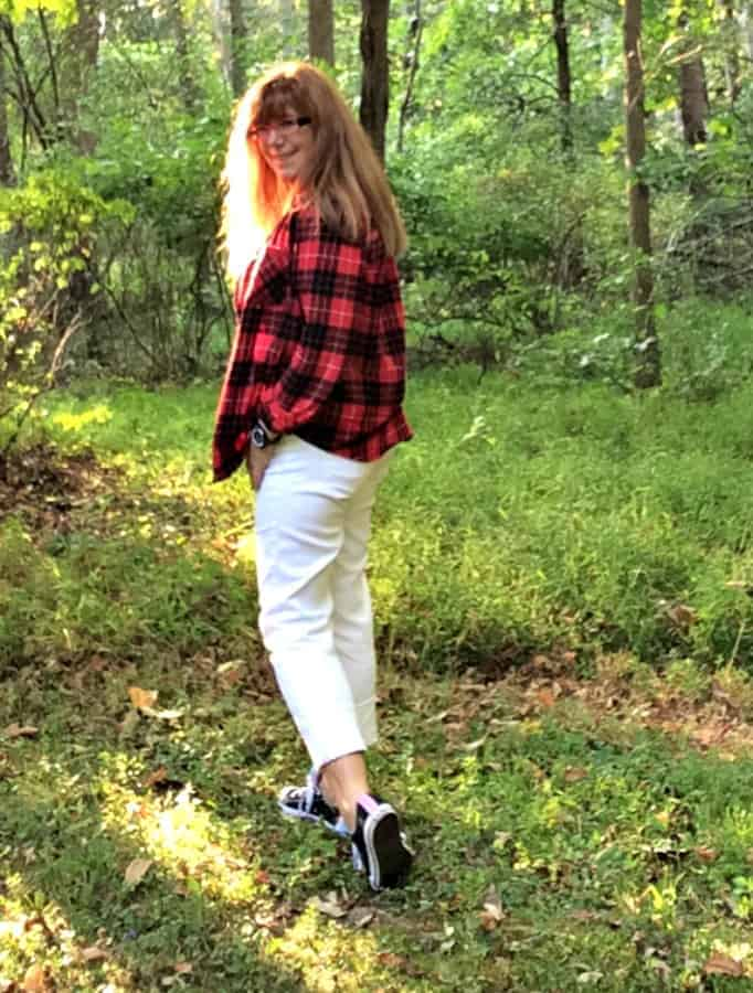 flannel shirt and white jeans