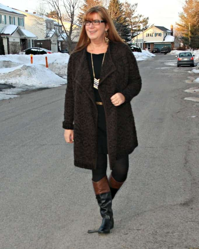 Joe Fresh Sweater, Banana Republic Dress and two tone Boots by Target