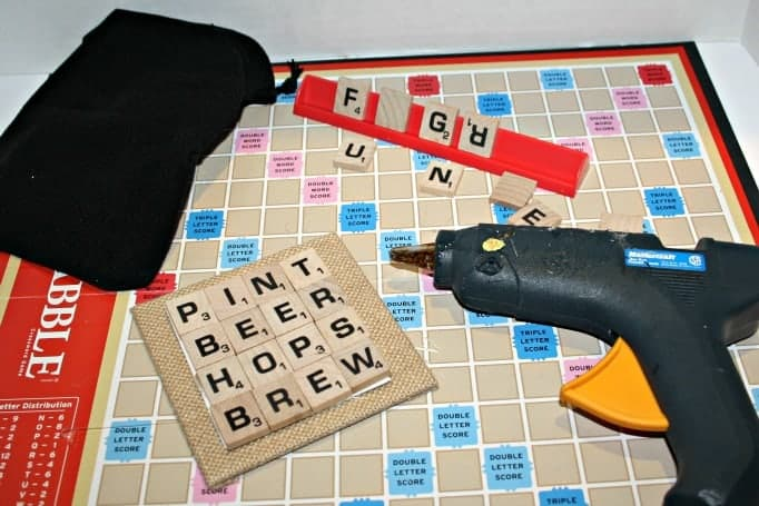 Scrabble Tile Coasters with wine and beer