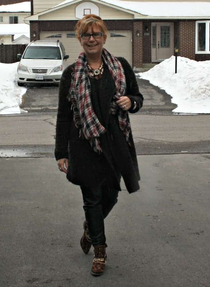 leopard booties, tweed sweater, Leather leggings and floral necklace