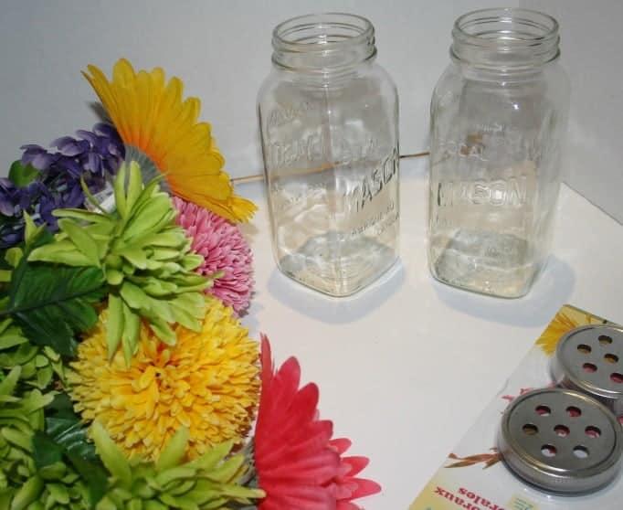 flowers, lids and mason jars