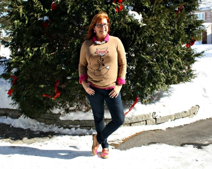 Jeggings, fox sweater and flannel with loafers
