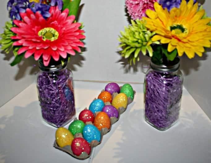 Mason Jar Easter Vases,
