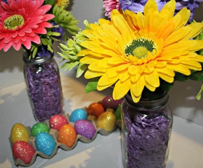 Glitter Eggs and Mason Jar Easter Vases, flowers, lids and mason jars