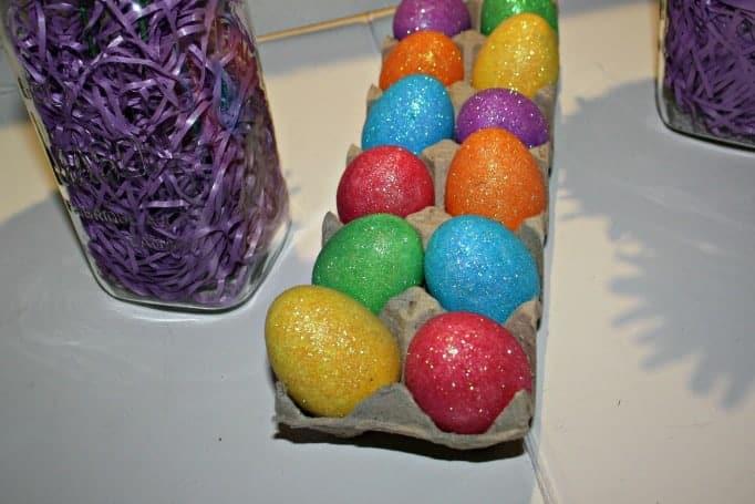Glitter Eggs and Mason Jar Easter Vases,