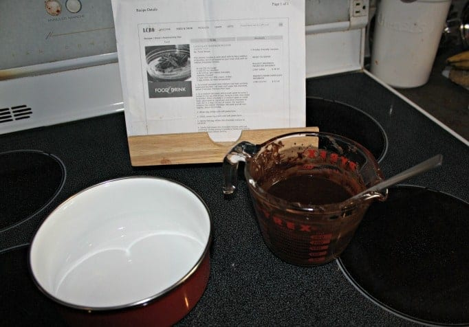 Chocolate Bourbon Mousse mixing ingredients