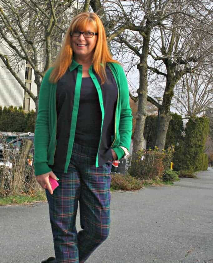 MK Colour block shirt and kelly green sweater, with target plaid pants