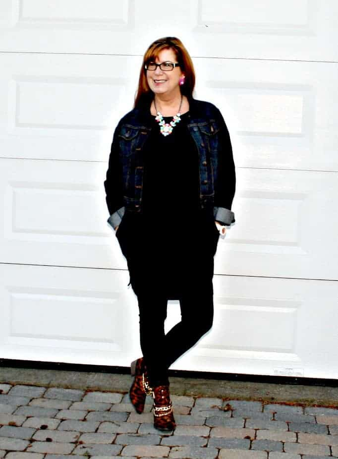 banana republic LBD, Denim Jacket Yosa necklace, leopard booties