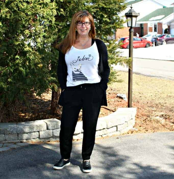 black Joggers, J'adore tee and cardigan