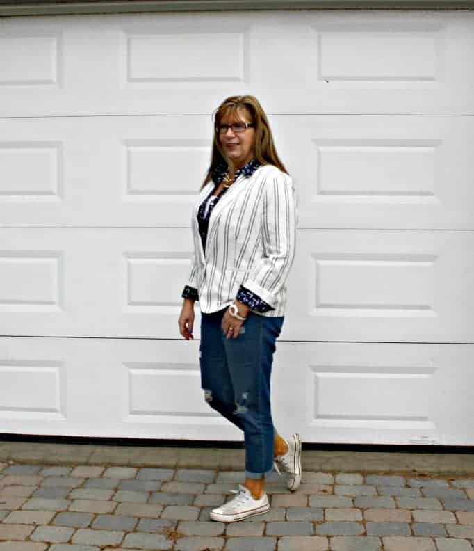 Old Navy Classic Linen Blazer, Anchor Blouse and Boyfriend Jeans paired with Converse