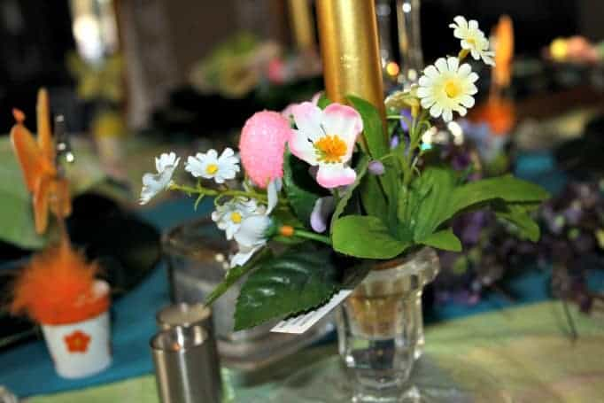 Easter Table Setting, floral candle rings