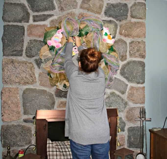 Easter Decomesh wreath, adding plush animals