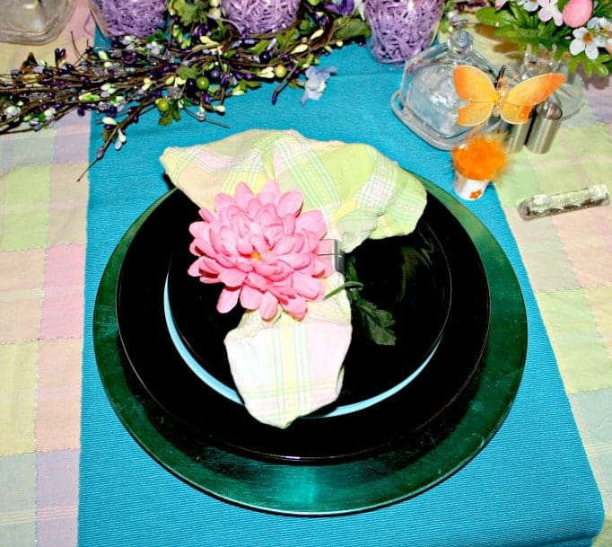 Easter Table Setting, pastel tablecloth and butterfly name tag holders