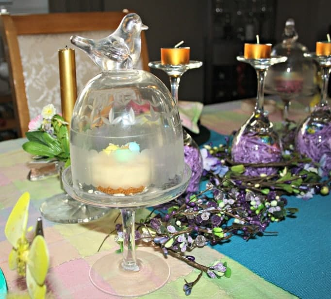 Easter Table Setting, bird dessert holders