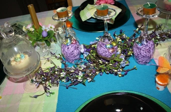 Easter Table Setting, pastel tablecloth